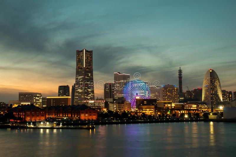 Yokohama City Port in the Sunset during winter season. Cityscape lighting view from Osan Bashi stock photo