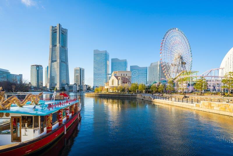 Yokohama city and skyline of Yokohama city at sunset, Japan stock photo