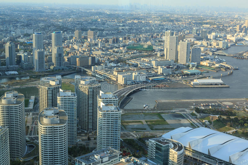 Yokohama city. The view from de Yokohama sky building is wonderful. Photo taken on: April 12th, 2013 stock photos