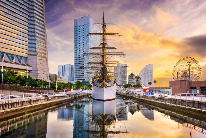 Yokohama Cityscape. Yokohama, Japan dawn at Minato-mirai District royalty free stock images