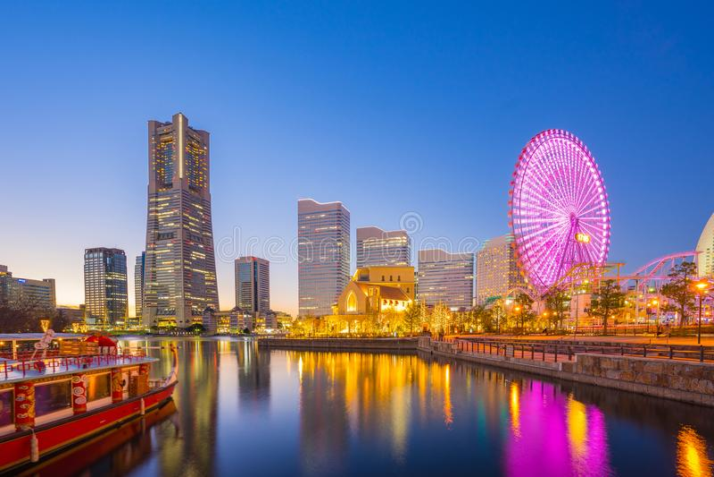 Yokohama cityscape in Japan at night stock photos