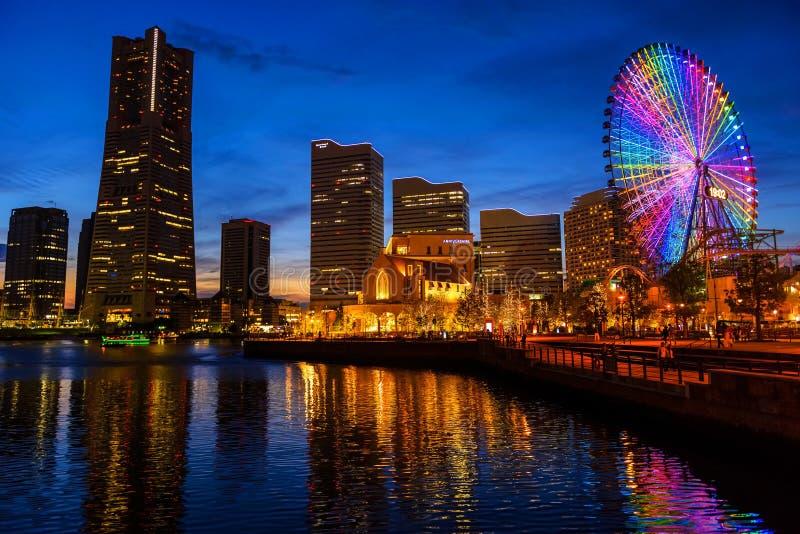 Yokohama cityscape at night, Minato Mirai royalty free stock image