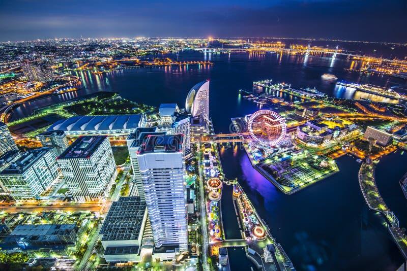Yokohama Japan. Yokohama, Japan aerial view at Minato Mirai waterfront district royalty free stock photography