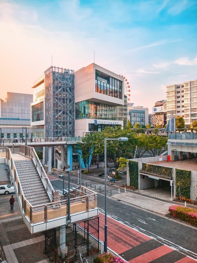 Yokohama street view at sunset royalty free stock image