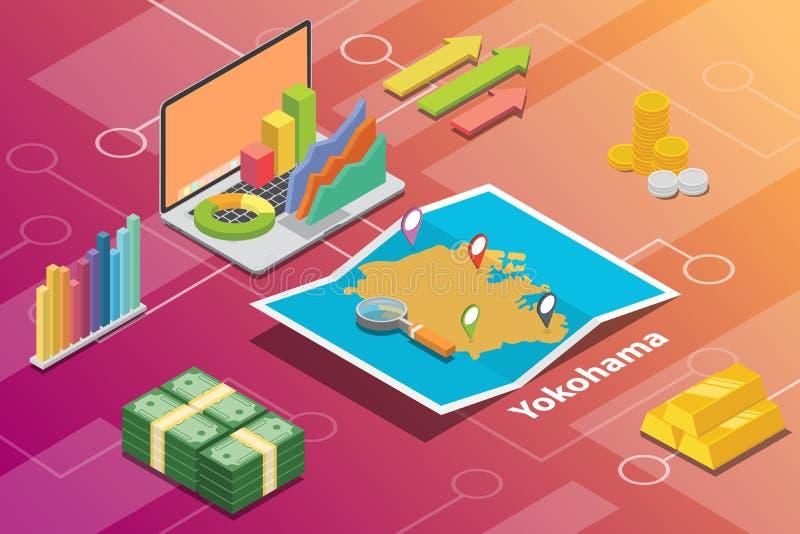 Yokohama japan city isometric financial economy condition concept for describe cities growth expand - vector vector illustration