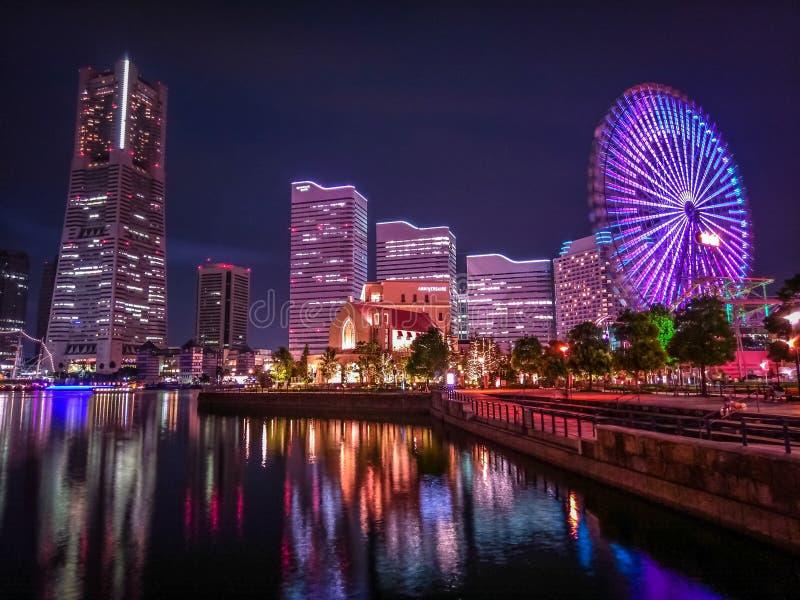 Yokohama, Japan city skyline from the bay at twilight stock photo