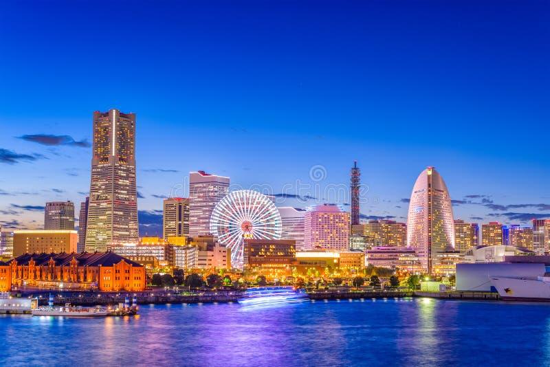 Yokohama, Japan Skyline. Yokohama, Japan city skyline from the bay at twilight royalty free stock image