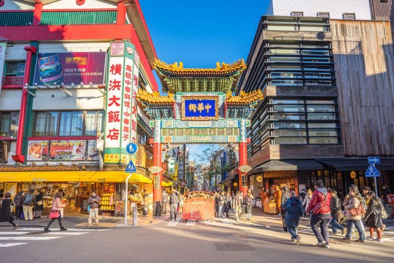 Yokohama Japan - 30 December, 2016: Den Yokohama kineskvarteret är Japan ` s största chinatown som lokaliseras i centrala Yokoham arkivfoton