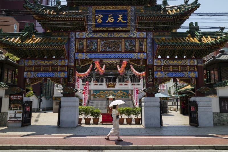 Yokohama - Japan, June 16, 2017; Chinese Mazu Miao Temple in Chi. Na town in Yokohama city, Mazu, the Goddess of the Sea is worshipped at the Mazu Temple royalty free stock photos
