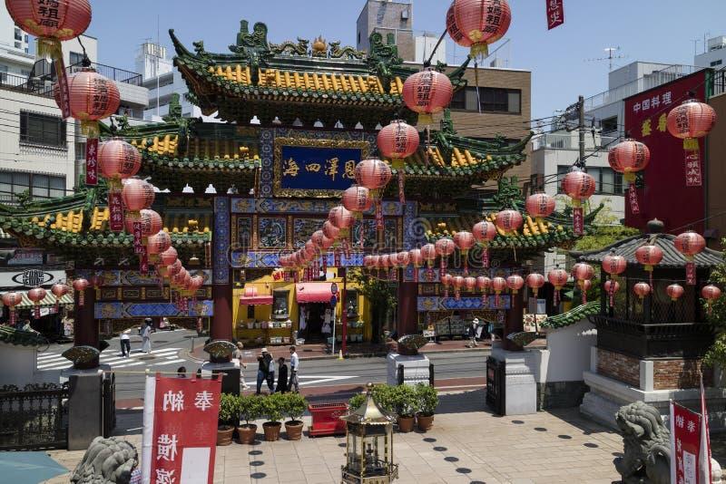 Yokohama - Japan, June 16, 2017; Chinese Mazu Miao Temple in Chi. Na town in Yokohama city, Mazu, the Goddess of the Sea is worshipped at the Mazu Temple royalty free stock photography