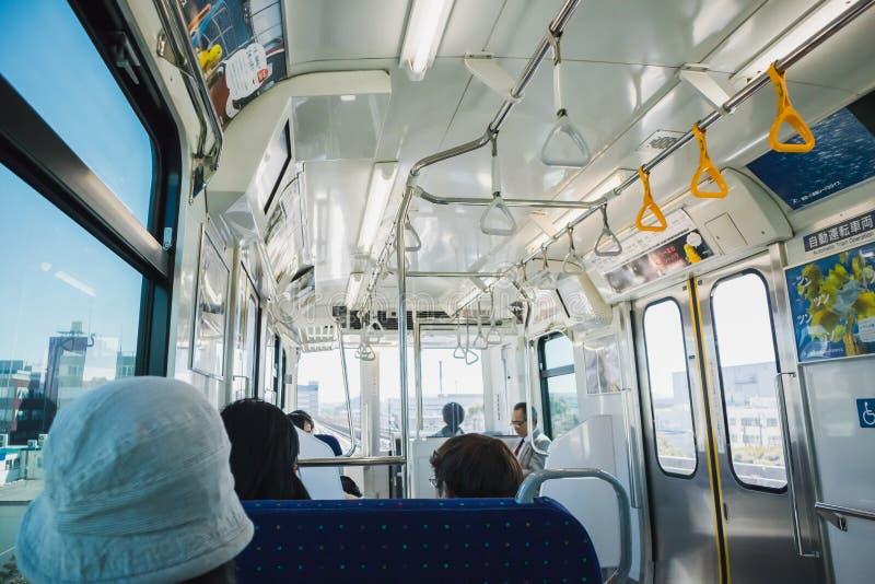 YOKOHAMA,JAPAN 13 MAR 2019 Inside the Seaside Line train royalty free stock photos