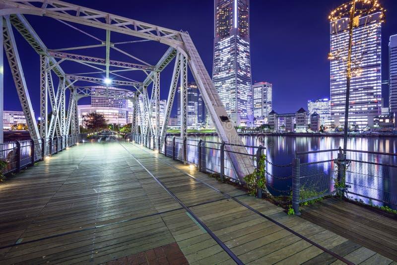 Yokohama, Japan. At Minato Mirai park and pedestrian bridge royalty free stock photos