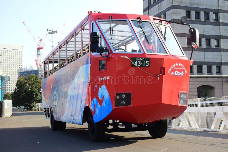 Yokohama, Japan Minato Mirai 21 Recreation facilities, a boat shaped transporter bus stock photography