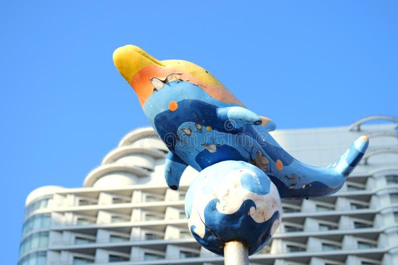 Yokohama, Japan Minato Mirai 21 Recreation facilities, Dolphin Statue. Yokohama, Japan Minato Mirai 21 Recreation facilities, a cute dolphin Statue stock photo