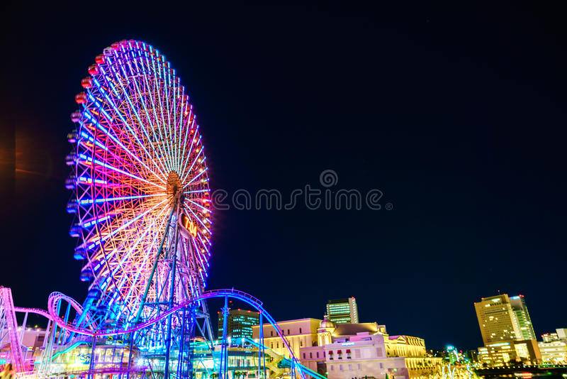 Yokohama, Japan - November 24, 2015 : Ferris wheel at cosmo world royalty free stock photo