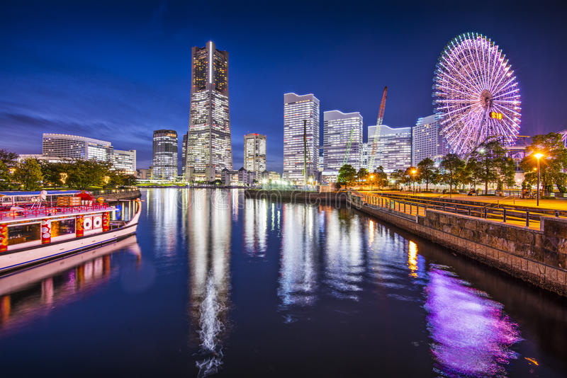 Yokohama Japan. Yokohama, Japan skyline at Minato Mirai waterfront district royalty free stock images