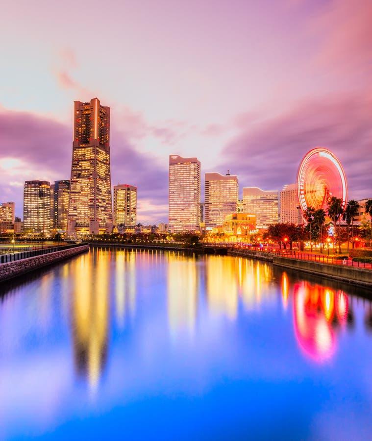 Yokohama, Japan. Skyline at Minato Mirai waterfront district stock image