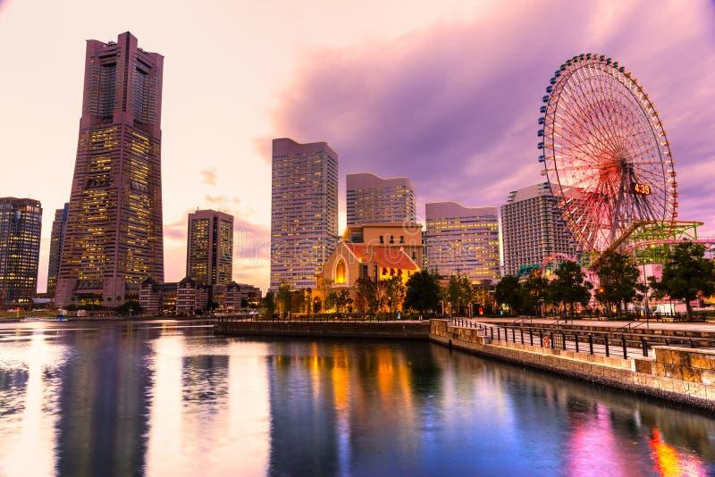 Yokohama, Japan. Skyline at Minato Mirai waterfront district stock photo