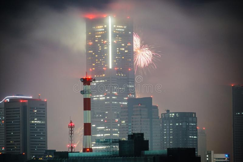 Yokohama Landmark Tower and fireworks Twilight sparkling 2019 stock photo