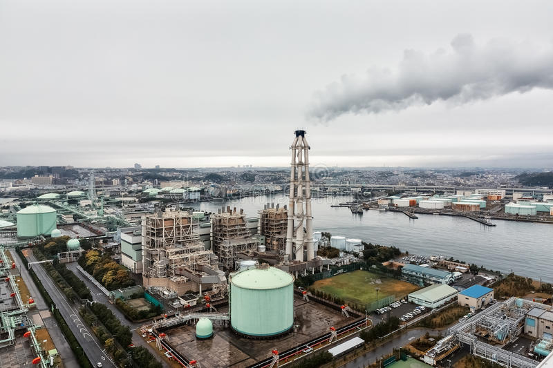 Yokohama LNG Town Gas Supplier in a rainy day stock images