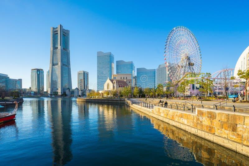 Yokohama Minato Mirai 21 seaside urban area in central Yokohama, Japan stock photos