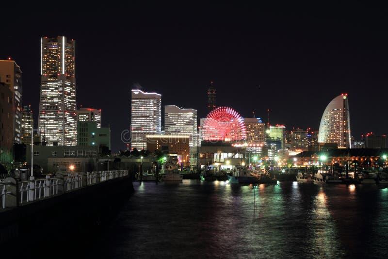Yokohama Minatomirai 21 in Kanagawa, Japan. Night scene royalty free stock photography