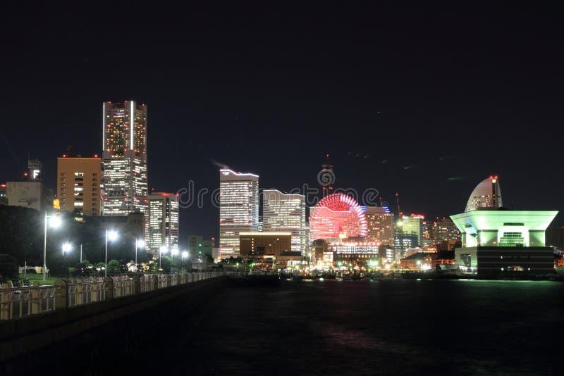 Yokohama Minatomirai 21 in Kanagawa, Japan. Night scene stock photo