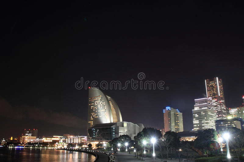 Yokohama Minatomirai 21 in Kanagawa, Japan. Night scene royalty free stock image