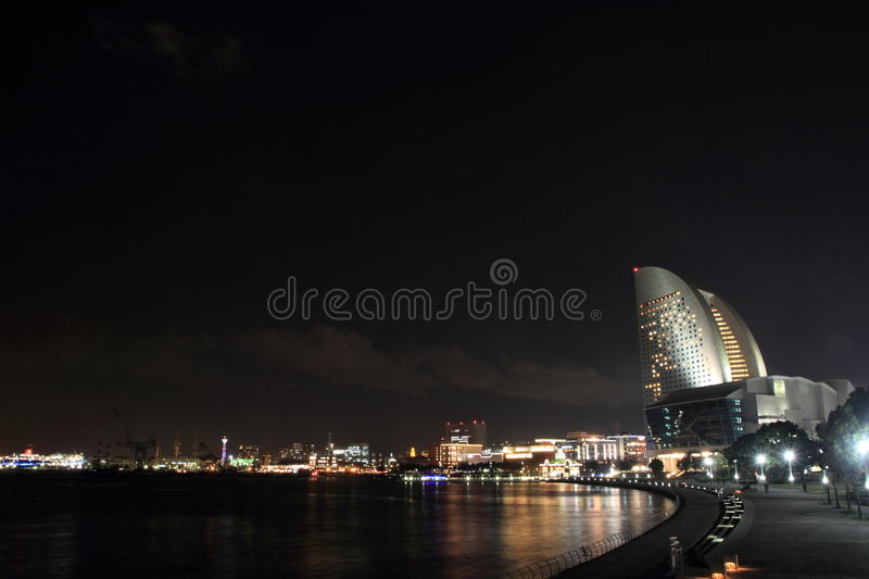 Yokohama Minatomirai 21 in Kanagawa, Japan. Night scene royalty free stock images