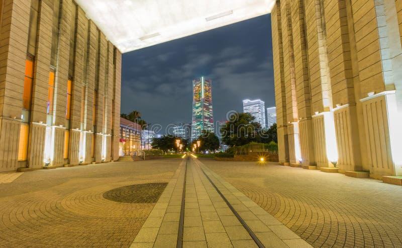 Yokohama. Minatomirai 21 at night in Japan royalty free stock photo