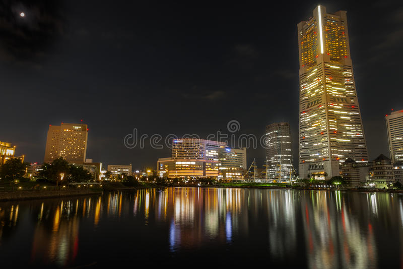 Yokohama. Minatomirai 21 at night in Japan royalty free stock photos