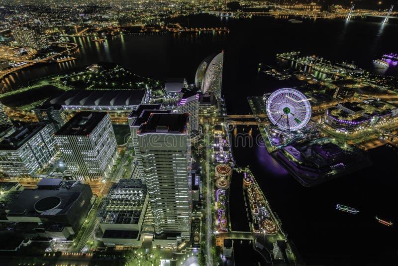 Yokohama by night stock photos