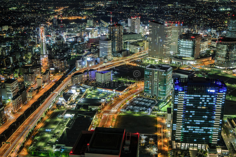 Yokohama por noche fotos de archivo