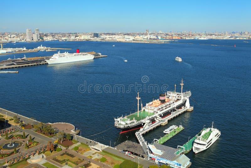 Yokohama port. With clear blue sky stock photography