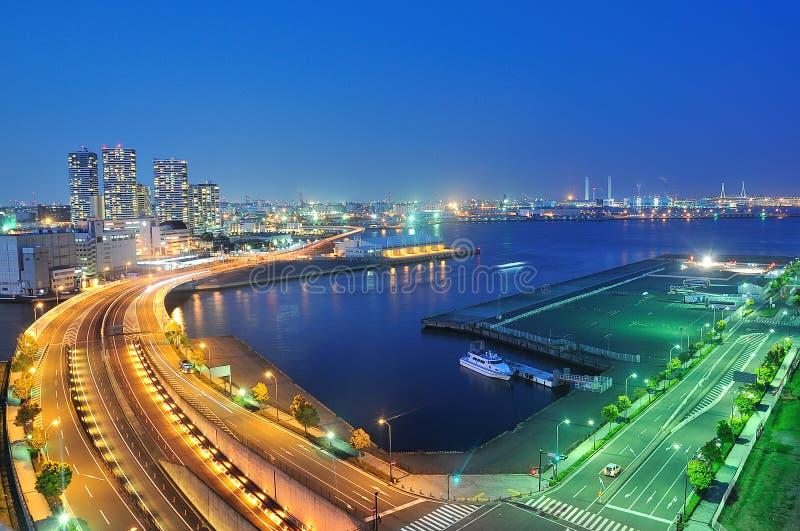 Yokohama port and Minato Mirai Bridge at night stock photography