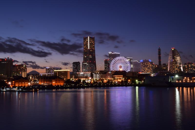 Yokohama port Nightview zdjęcie stock