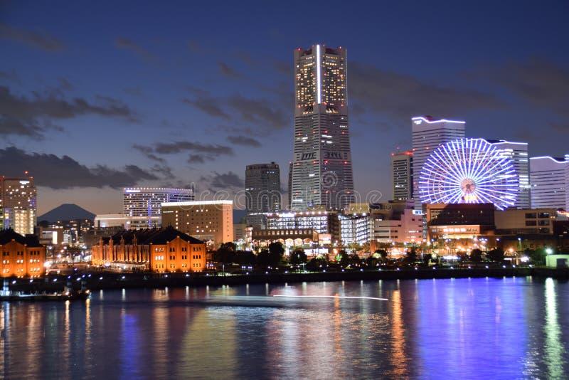 Yokohama port z Mt Fuji zdjęcia royalty free