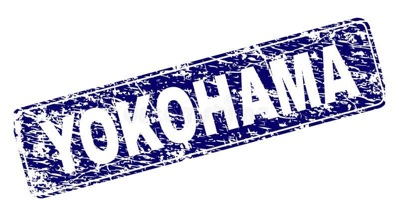 YOKOHAMA riscado moldou o selo arredondado do retângulo ilustração do vetor
