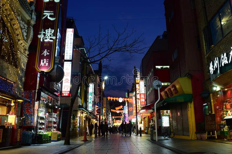 Japan Yokohama Chinatown night view stock image
