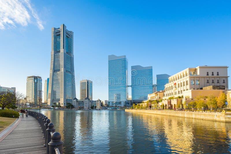 Yokohama skyline and Cityscape of Yokohama city at sunset, Japan royalty free stock images