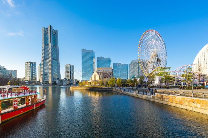 Yokohama skyline and Cityscape of Yokohama city at sunset, Japan royalty free stock photography