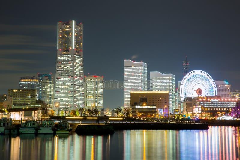 Yokohama Skyline night Japan royalty free stock photos