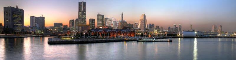 Yokohama sunset panoramic, Japan. The skyline of Yokohama - the 2nd largest city in Japan, located just south of Tokyo, as seen from the Yokohama International stock photo