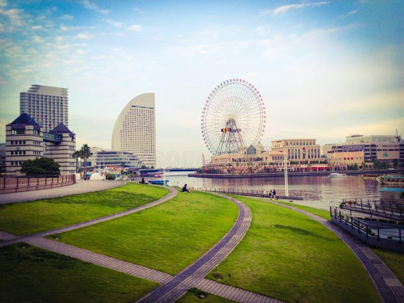 Yokohama view. View of Yokohama bay at night in Japan stock photos