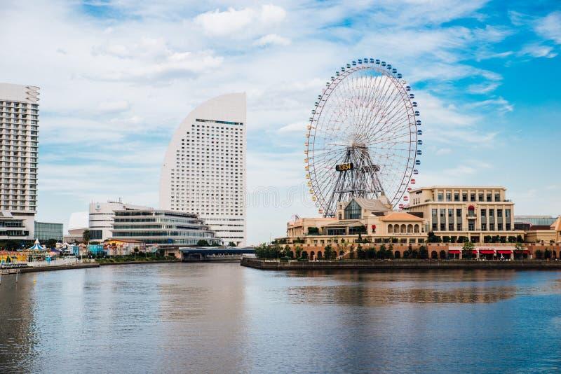 Yokohama View. The ferris wheel of Cosmo world is the one of landmark in Yokohama royalty free stock photo