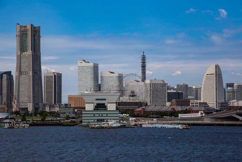 Yokohama skyline from Tokyo Bay 4. The Yokohama waterfront skyline seen from Tokyo Bay. The area around Sakuraigichou station is known for its shopping and royalty free stock image