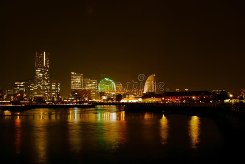 Yokohamacityscape bij nacht royalty-vrije stock afbeelding