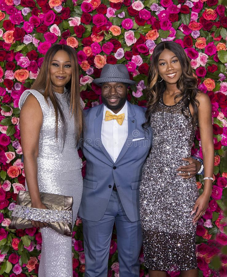Yolanda Adams and Rodney East at 2018 Tony Awards. Actress and gospel singer Yolanda Adams, actor Rodney East, and Taylor Crawford arrive on the red carpet for royalty free stock image