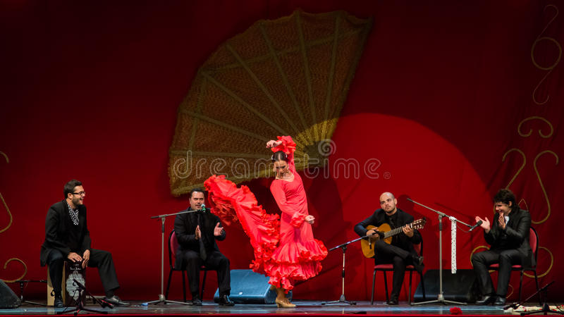 Yolanda Osuna - flamenco dancer. The flamenco dancer Yolanda Osuna during the show for National Day of Spain 2013 organized in Bucharest. This photo is for stock photo
