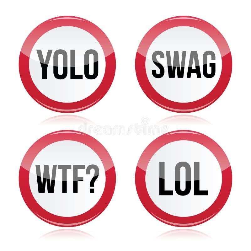 YOLO byltet, WTF, LOL undertecknar stock illustrationer
